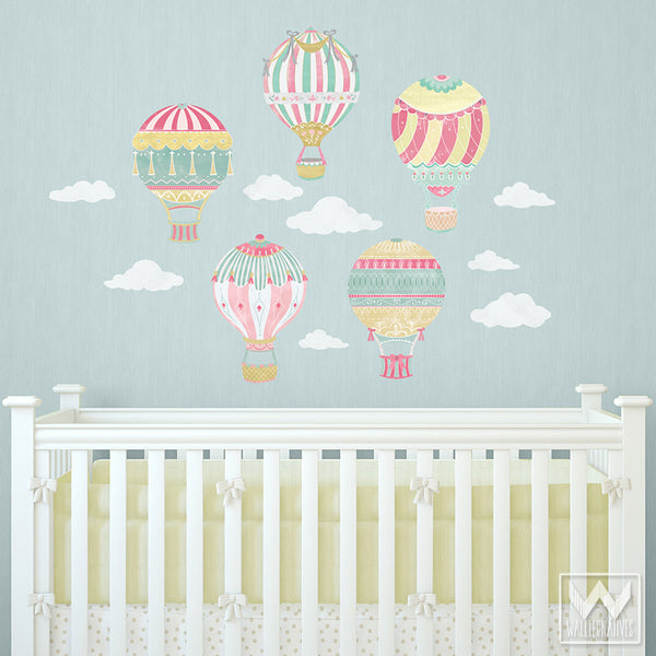 Hot Air Balloons Sky Clouds Wall Print Fabric Wall Decal Nursery - Wall decals for nursery