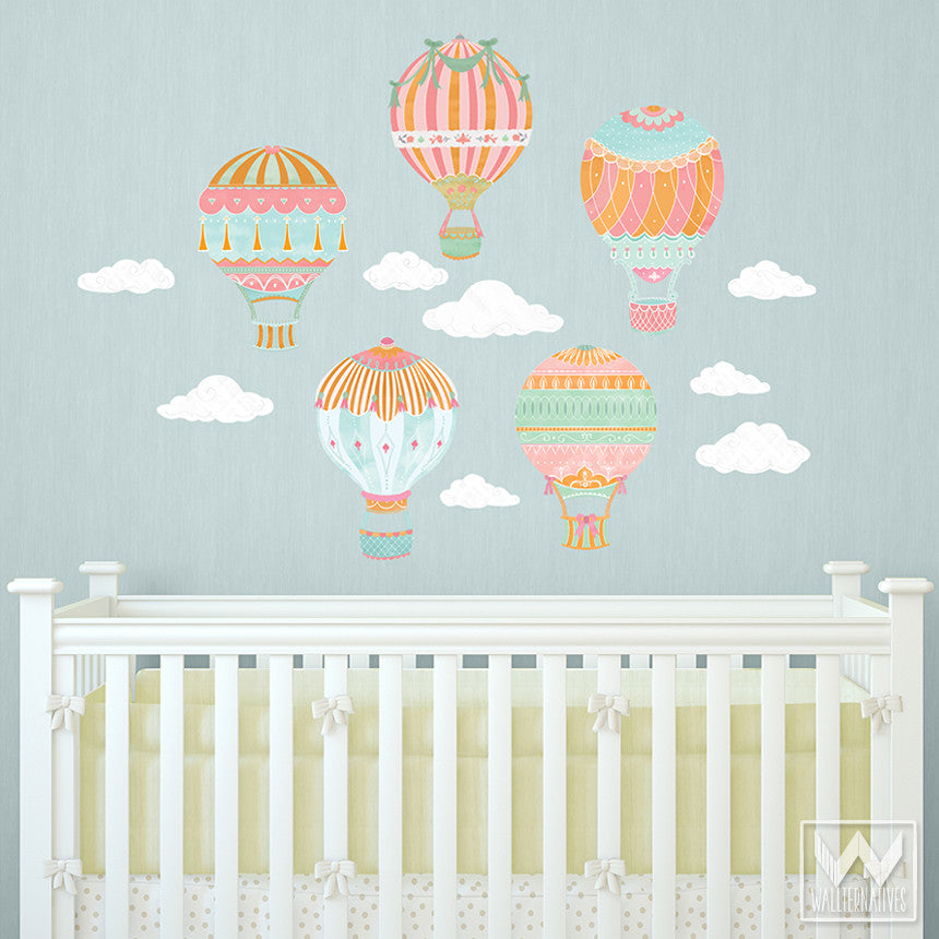 ... Cute Nursery Decor Using Hot Air Balloon Removable Wall Decals From  Wallternatives ...