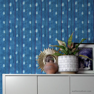 Indigo Blue Fabric Wall Pattern - Peel and Stick Removable Wallpaper Wall Design for Bohemian Bedroom Decor - Wallternatives Wallpapers