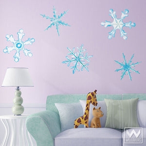 Winter Snowflake Removable Christmas Wall Decals for Holiday Decorating - Wallternatives