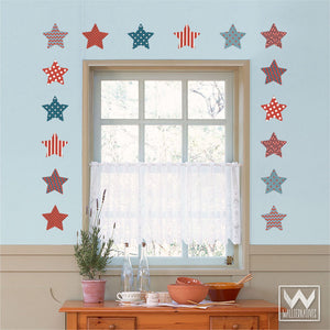 Patriotic Red White Blue Stars Removable Wall Decals for Americana Decor - Wallternatives