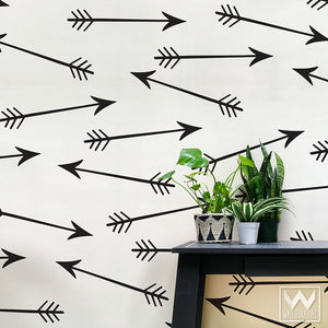 Large Arrows Shapes Vinyl Wall Decals for Boho Bedroom or Modern Tribal Living Room - Wallternatives