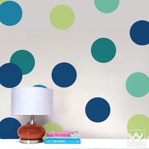 Large Blue Colored Circles Vinyl Wall Decals for Colorful Nursery or Bedroom - Wallternatives Wall Stickers