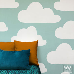 Large Clouds Vinyl Wall Decals for Sky Mural in Bedroom or Nursery - Wallternatives