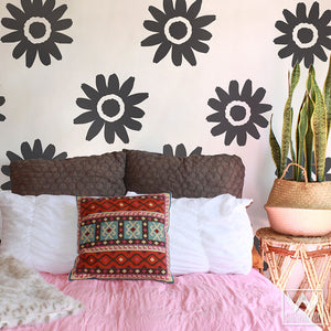 Large Daisy Flowers Vinyl Wall Decals for Boho Bedroom Feature Wall Art - Wallternatives