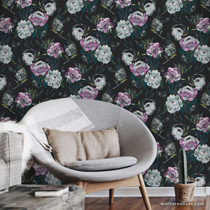 Black and Purple Flowers Painterly Floral Removable Wallpaper Mural Pattern for Boho Glam Interiors - Wallternatives