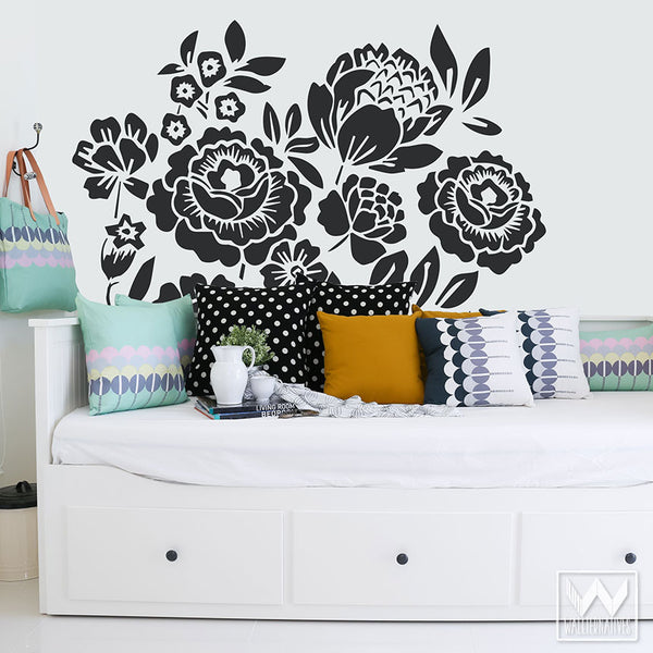 Large Wood Cut Floral Mural Nature Vinyl Wall Decal Graphic Stickers
