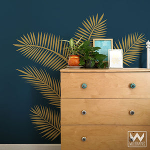 Large Palm Leaves Fronds Vinyl Removable Wall Decals - Teen Room, Nursery, Boho Chic Decor, Jungalow Style Room - Wallternatives
