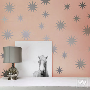 Large Star Wall Designs to Peel and Stick in Modern Bedroom or Nursery Decor - Wallternatives Vinyl Wall Decals