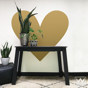 Big Gold Heart Vinyl Wall Decals for Easy Decorating - Wallternatives