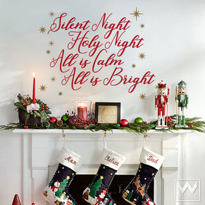 Christmas Wall Decals - Silent Night Saying - Wallternatives