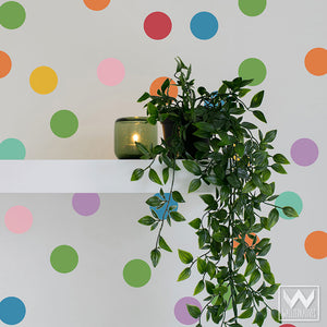 Rainbow Colored Circles Vinyl Wall Decals for Colorful Nursery or Bedroom - Wallternatives Wall Stickers