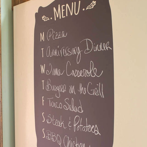 adhesive menu chalkboard vinyl wall decal graphic for kitchen walls