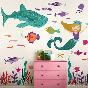 Mermaid & Whale Shark Under the Sea Removable Wall Decal Set