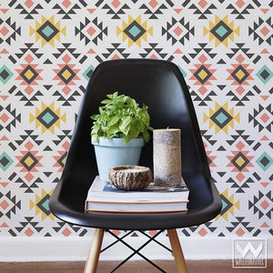 Bold Aztec Print Removable Wallpaper for Colorful Geometric Wall Decor - Wallternatives