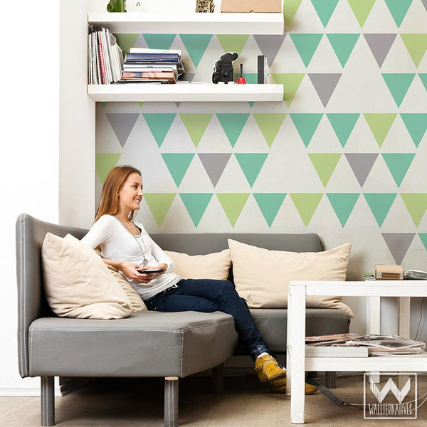 Wall Decals In Dorms : Large triangles vinyl wall decals modern shapes for