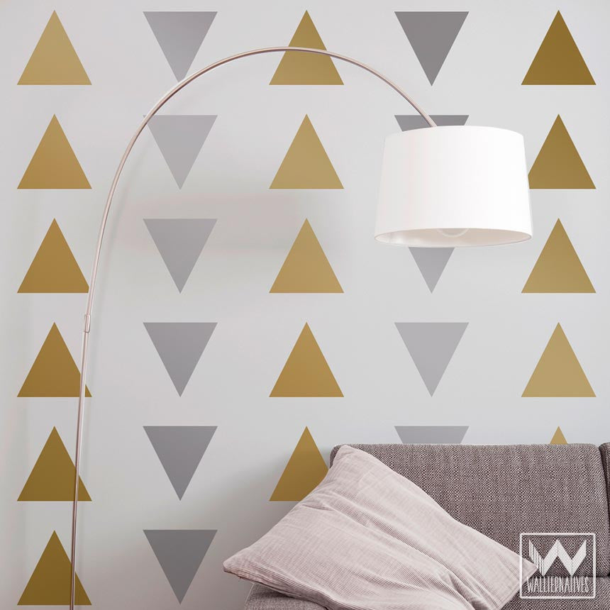 large triangle shapes wall decals for cute trendy wall decor modern and geometric dorm decor - Simple Shapes Wall Design