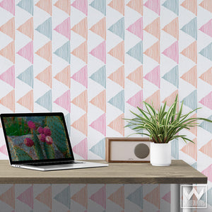 Geometric Triangles, Modern Designer Wallpaper for Decorating Dorm Decor, Kids Room, Teen's Room - Removable Wallpaper from Wallternatives