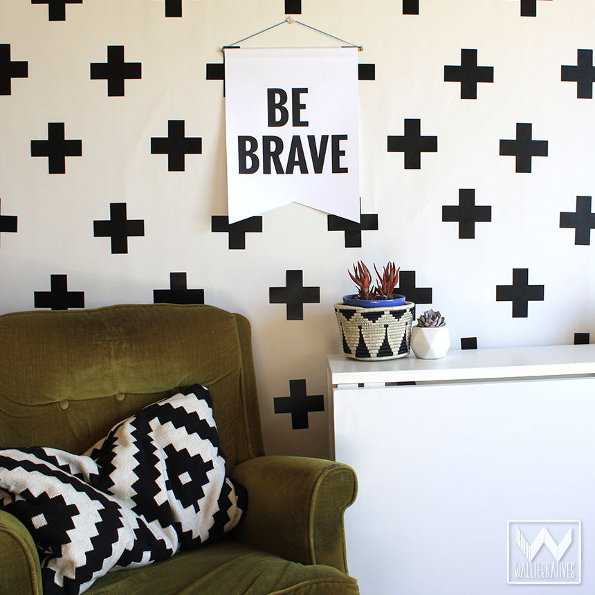 wall art design decals.  Simple Modern Black and White Teen Dorm Decor Plus Sign Cross X Shape Vinyl Removable Wall art decals for wall decoration stickers