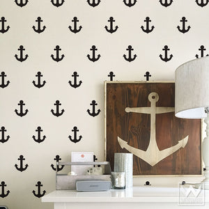 Decorate for a pirate themed boys room or coastal beach decor using Anchor Vinyl Wall Decals