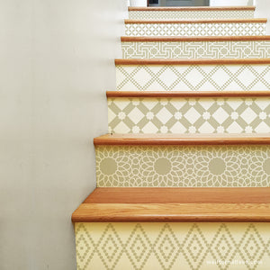 Stair Pattern Stickers for DIY Decorating - Neutral Beige Tan Color Moroccan Style Decals - Wallternatives