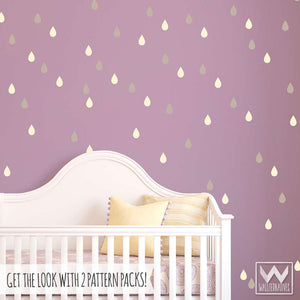 Peel and stick raindrops vinyl wall decals for modern nursery or kids room