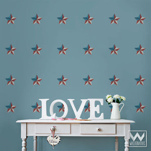 Patriotic Old Glory Flag Star Removable Wall Decals for Holiday Decorating and Fourth of July Party Decor - Wallternatives
