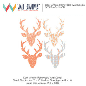 Colorful Patterned Deer Heads and Deer Antlers - Modern and Rustic Removable Wall Decals