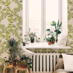 Nature Leaves Vines Removable Wallpaper - Modern Farmhouse, Shabby Chic, Contemporary Wall Sticker Mural Decor - Wallternatives