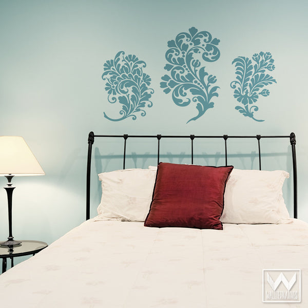 Chic And Elegant Paisley Damask Flowers Vinyl Wall Decals   Wallternatives