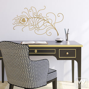 Chic and Trendy Designer Wall Decals - Peacock Feather Design to Stick on Walls - Wallternatives