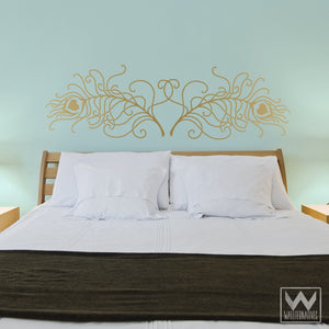 Two Large Peacock Feathers to Decorate Walls with Mural - Vinyl Wall Decals - Wallternatives