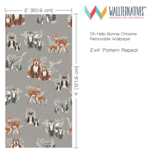 Gray Removable Wallpaper from Wallternatives - Forest Animals Wall Decor for Baby Nurseries
