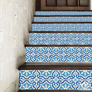 Tiled Stair Risers Pattern with European Farmhouse Style - Spanish Tile Decals for Stairs - Wallternatives