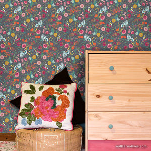 Modern Flower Wall Design Peel and Stick Removable Wallpaper for Easy Bedroom and Nursery Decorating - Wallternatives