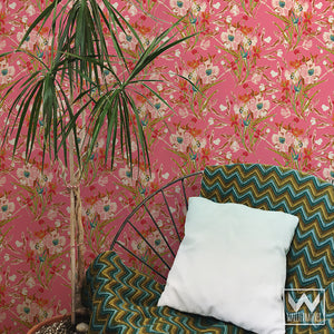 Pink Painterly Wall Mural Removable Wallpaper - Bari J Flower Art Designs - Wallternatives