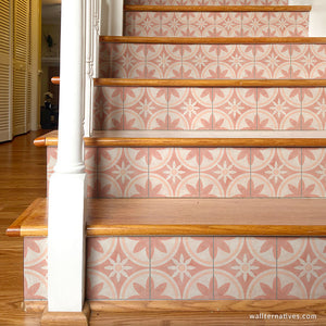Pink Tile Stair Design Morocccan Tiles Decor Adhesive Decals - Wallternatives
