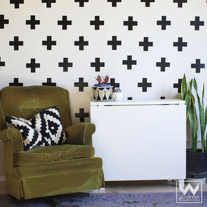 Simple Modern Black and White Teen Dorm Decor - Plus Sign Cross X Shape Vinyl Removable Wall Decals - Wallternatives