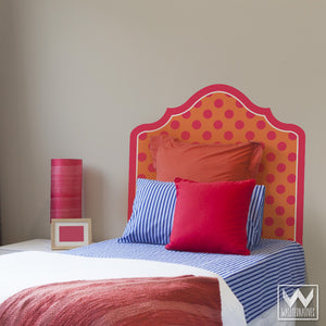 Modern Polka Dot Pattern Headboard Removable Wall Decals - Dorm Decor or Bedroom Adhesive Sticker - Wallternatives