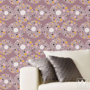 Purple Modern and Geometric Removable Wallpaper - Designer Wallpaper for Trendy Dorm Decor and Cute Nursery Decor - Wallternatives