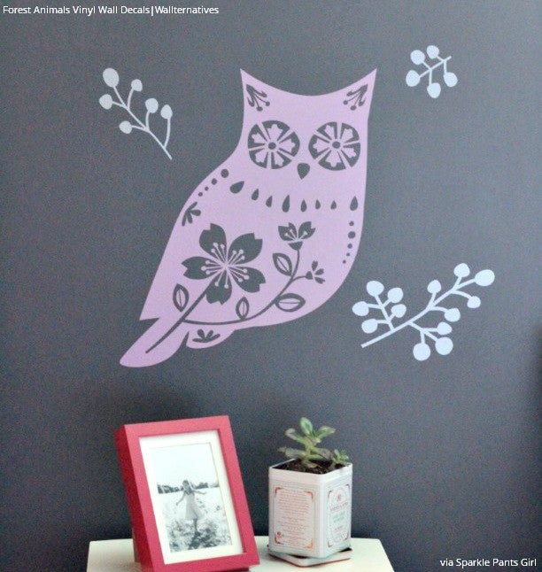 Tree Nature Forest Animals Owl Deer Squirrel Vinyl Wall Decal - Vinyl wall decals animals