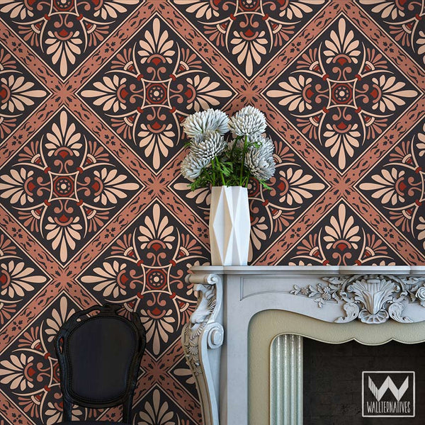 Art nouveau feather damask removable wallpaper peel and for Wall art wallpaper