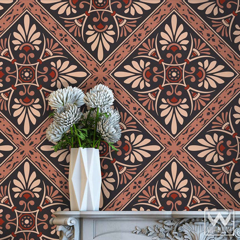 Art Nouveau Feather Damask Removable Wallpaper Peel And