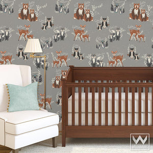 Decorate Boys Nursery Decor with Cute Forest Animal Patterns from Bonnie Christine for Wallternatives Removable Wallpaper