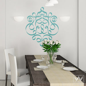 Decorative and Ornate Ribbon Damask Vinyl Wall Decals - Peel and Stick Wall Murals - Wallternatives