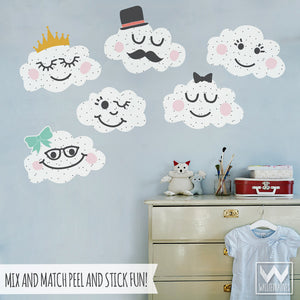 Smiling Cloud Faces for Cute Nursery Decor - Bonnie Christine Designer Removable Wall Decals