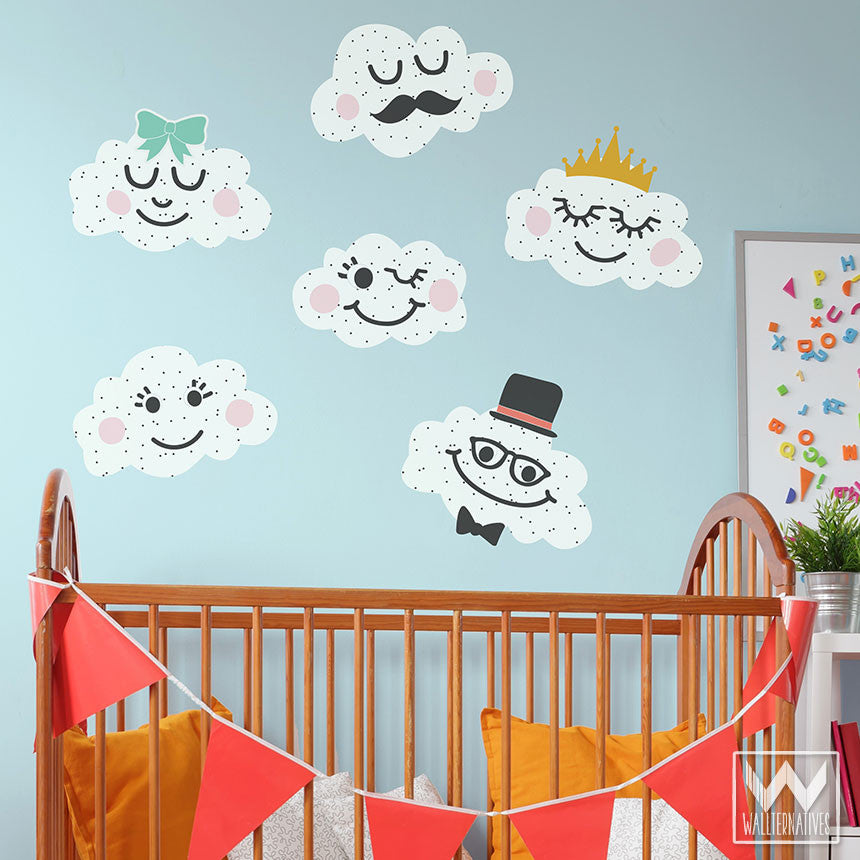 Smiling Cloud Faces Removable Wall Decals for Easy DIY Wall Decor ...