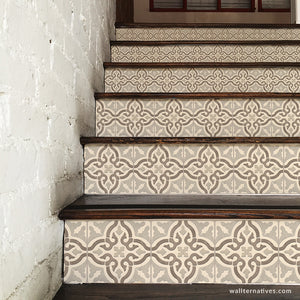 Neutral Beige Old World Spanish Tiles Design - DIY Stair Riser Decals for Decorating - Wallternatives