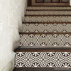 Black and White Old World Spanish Tiles Design - DIY Stair Riser Decals for Decorating - Wallternatives