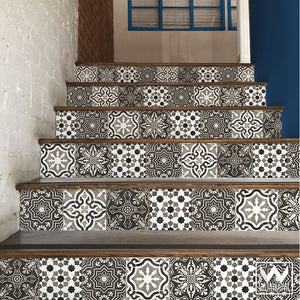 Gray Old World Spanish Tiles Design - DIY Stair Riser Decals for Decorating - Wallternatives